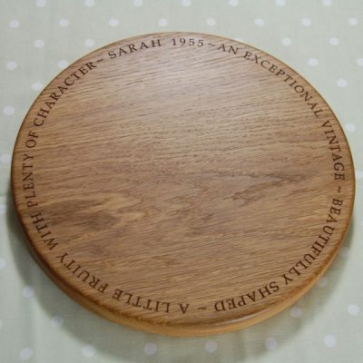 Personalised wooden cheese board, size 30 dia x 2.7cm, font Book Antiqua