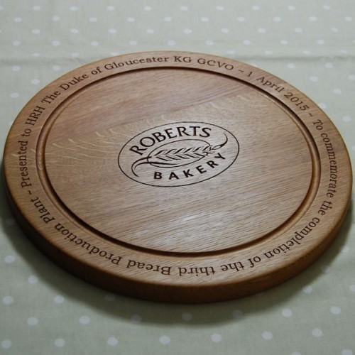 Personalised oak bread board