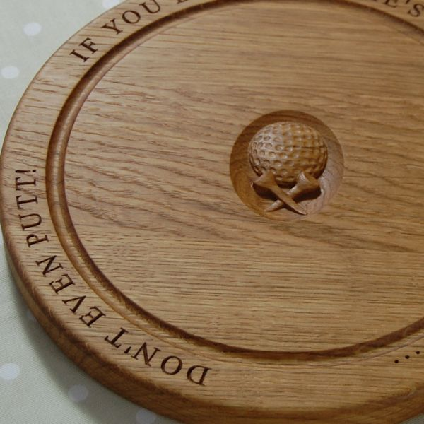 Personalised round chopping board, size 30 dia x 2.7cm, font Times New Roman, optional golf ball & tees 3D motif