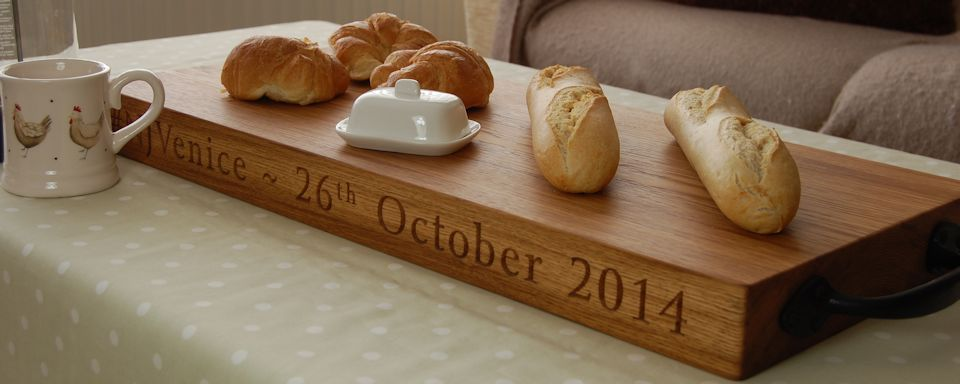 Personalised rustic oak serving board