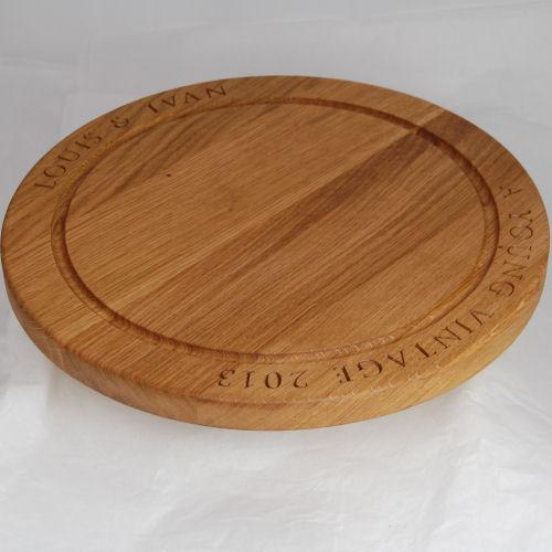 Personalised lazy susan, size 38cm diameter x 2.7cm, font Byington