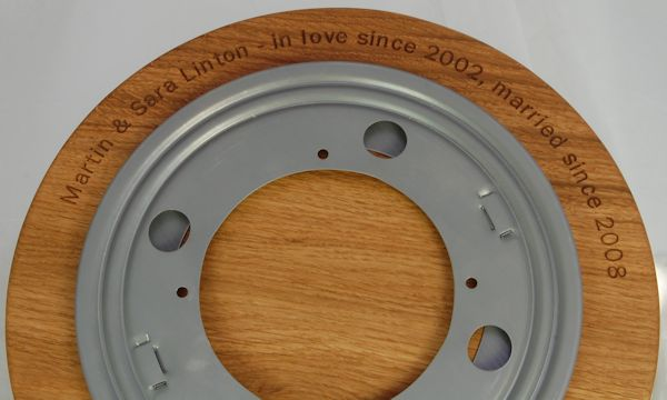 Lazy susan platter showing bearing and hidden message