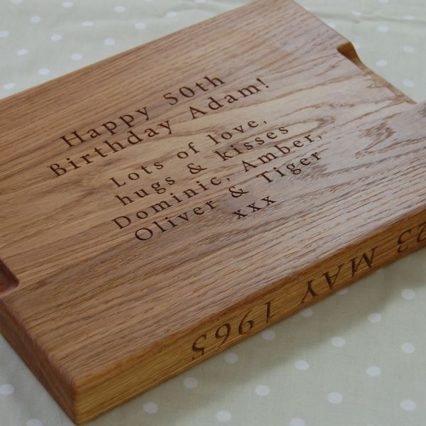 Engraved Carving Board with Personalised Secret Message, font Byington