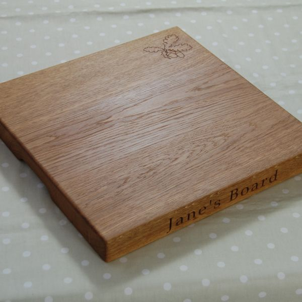 Personalised square chopping board, size 38x38x4cm, font Book Antiqua