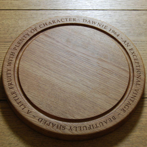 Personalised engraved circular bread board, size 30 dia x 4cm, font Book Antiqua