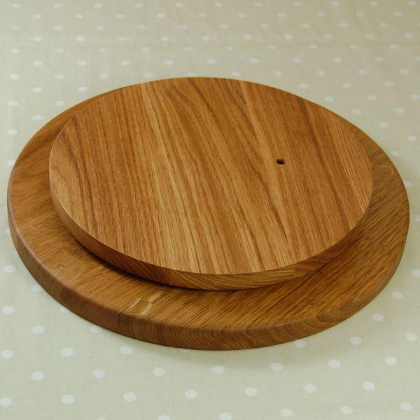 Lazy susan showing solid oak base