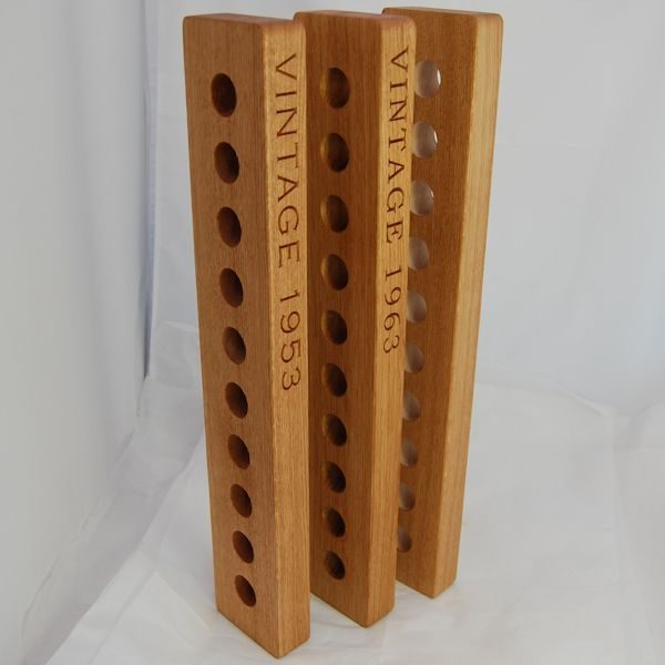 Personalised wooden wine racks, font Copperplate Gothic Light/Bookman Old Style