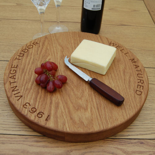 Wooden lazy susan platter, size 38cm dia x 4cm, font Copperplate Gothic Light