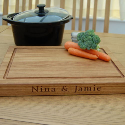 Engraved oak chopping board