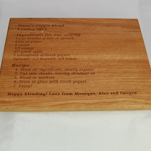 Personalised engraved chopping boardSize 30x40x2.7cm Menu engraved in font Book Antiqua