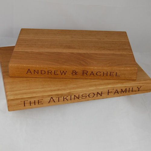 Engraved oak cheese boards, sizes 25x35x4cm & 30x40x4cm