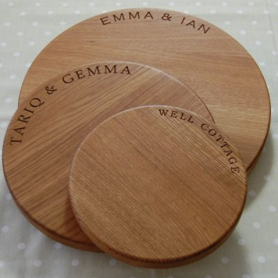 Personalised round cheese boards, 23cm, 30cm and 38cm diameter