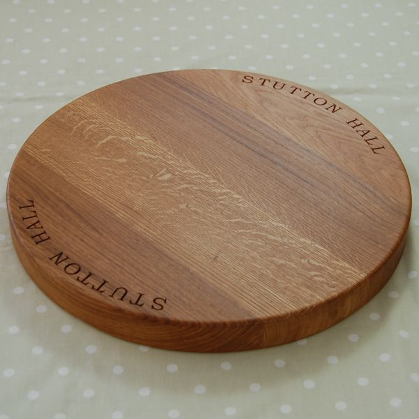 Personalised Wooden Cheese Board, size 42.5 dia x 4cm, font Book Antiqua
