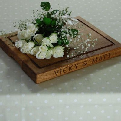 Personalised wooden wedding chopping board, size 30x40x4cm, font Byington