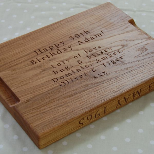 50th Birthday Wooden Chopping Board, size 30x40x4cm, font Byington