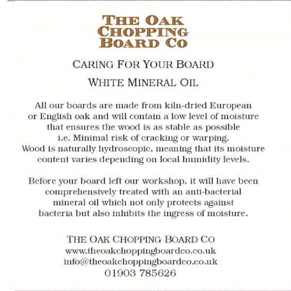 Chopping Board White Mineral Oil The Oak Chopping Board Co