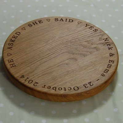 Personalised wooden engagement cheese board, size 30 dia x 2.7cm