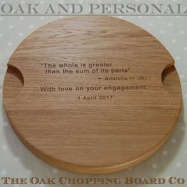 "Round ""Signature"" personalised cheese board with hidden message, size 38 dia x 4cm"