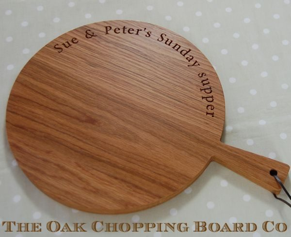 Personalised circular wooden paddle board, font Byington