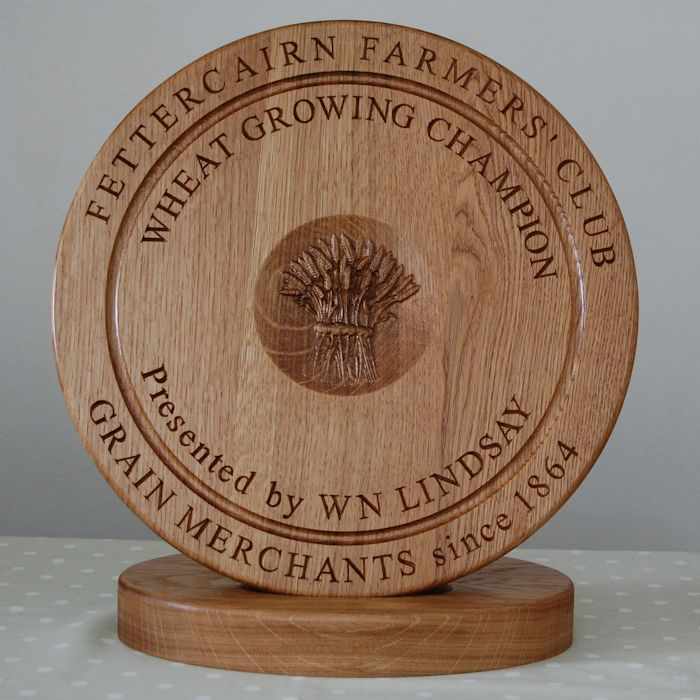 Engraved wooden bread board trophy