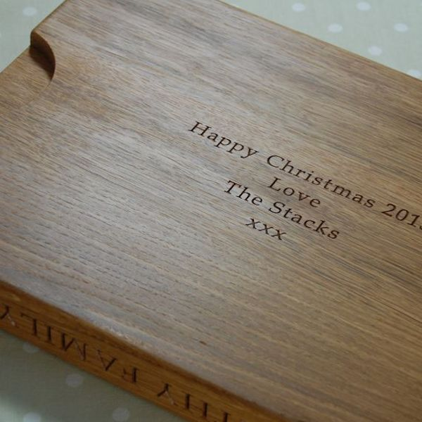 Carving board showing special hidden message underneath and recessed handles