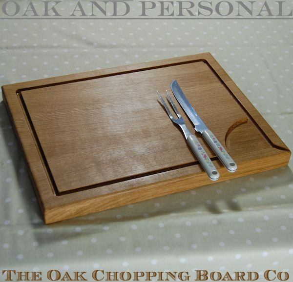 Large personalised wooden carving board with pouring spout