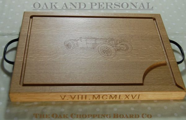 Large personalised wooden carving board, font Arial, optional rustic handles