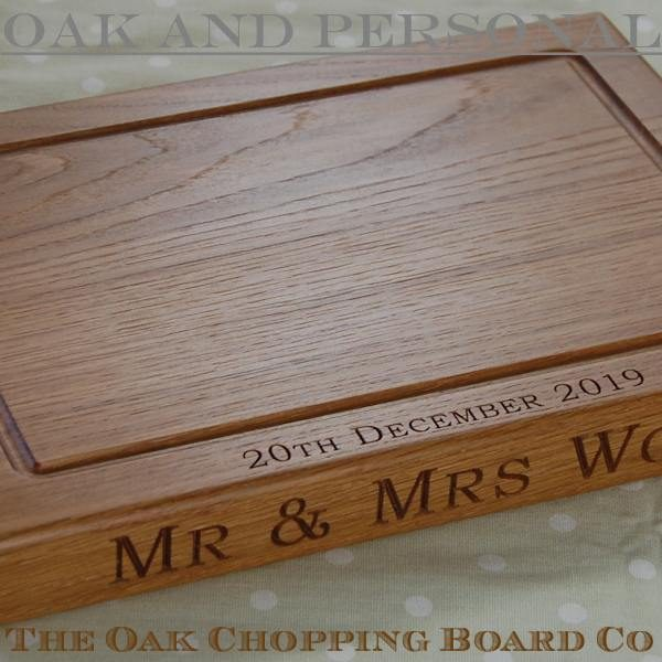 Mr and Mrs personalised wooden chopping or cheese board, size 25x35x4cm, font Bookman Old Style