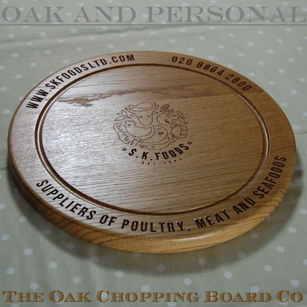 Engraved promotional chopping board, size 38 dia x 2.7cm