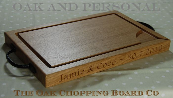 Personalised engraved rustic wooden carving board, size 30x45x4cm, font Footlight MT