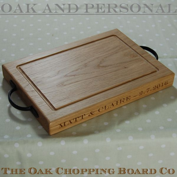 Rustic personalised chopping board, size 25x35x4cm, font Engravers MT