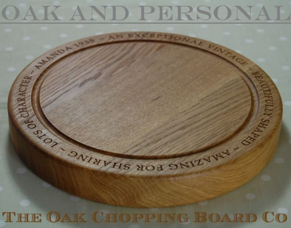 Personalised round wooden chopping board, size 30 dia x 4cm, font Book Antiqua