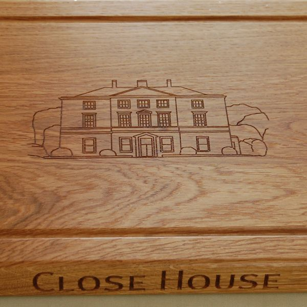 Personalised rustic chopping board, bespoke engraving from photo