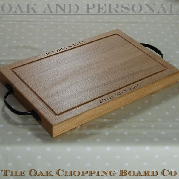 Personalised rustic wooden chopping board, size 30x45x4cm, font Bookman Old Style