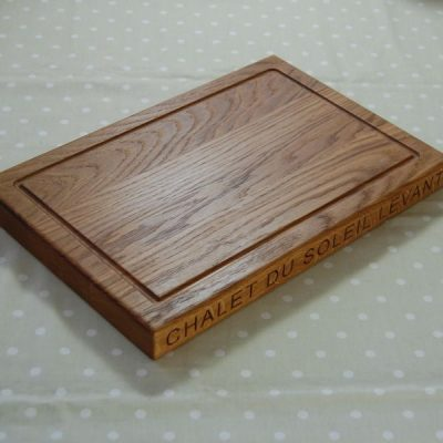 Personalised thank you chopping board, size 30x45x4cm, font Arial