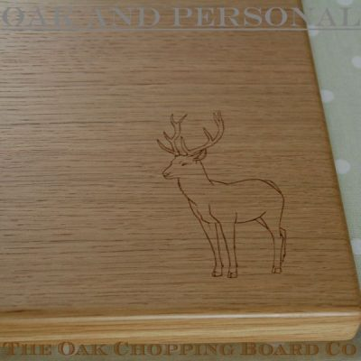 Personalised wooden chopping board with stag motif