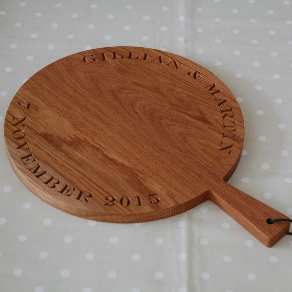 Personalised wooden serving paddle board, font Engravers MT