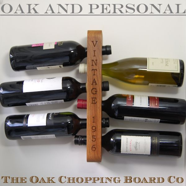 Personalised Wooden Wine Rack 6 Bottle The Oak Chopping Board Co