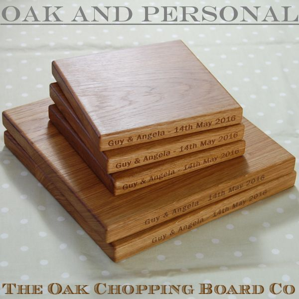 Set of personalised engraved oak chopping boards, font Franklin Gothic Book