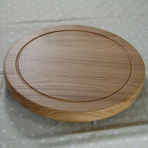 Solid wooden lazy susan with base, size 38cm dia x 4cm, available unengraved or with your personal message