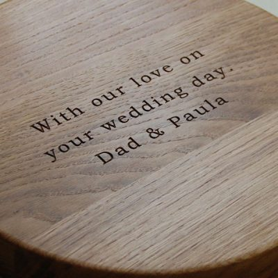 Wedding day engraved bread board, size 30 dia x 4cm, font Bookman Old Style